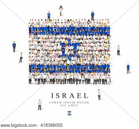 A Large Group Of People Are Standing In White And Blue Robes, Symbolizing The Flag Of Israel. Vector
