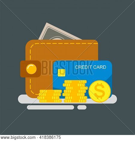 Wallet With Money And Credit Card. Cash Are Sticking Out Of The Wallet, Coins And A Credit Card Are