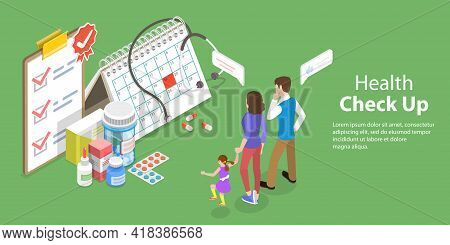 3d Isometric Flat Vector Conceptual Illustration Of Health Checkup.
