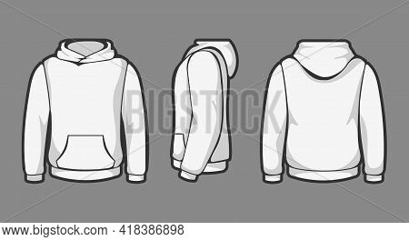 Hoodie Template Views. Man White Fashion Hooded Sweatshirt Isolated On Background, Hoody Templates,