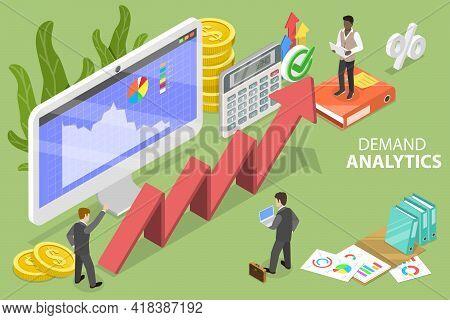 3d Isometric Flat Vector Conceptual Illustration Of Demand Analytics.