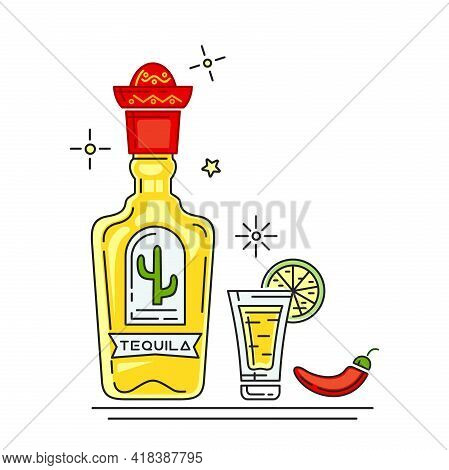 Tequila Bottle With Mexican Sombrero Cap. Glass And Bottle Of Tequila, Hot Peppers And Slice Of Lime