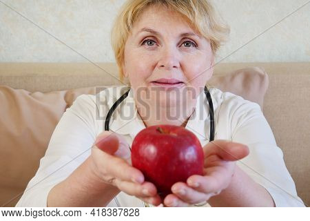 Portrait Of Doctor Giving Apple, Medicine Therapeutist Doctor Hands Holding Red Fresh Ripe Apple, Cl