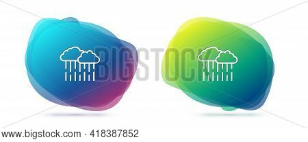 Set Line Cloud With Rain Icon Isolated On White Background. Rain Cloud Precipitation With Rain Drops