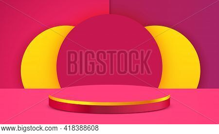 Abstract Scene Background. Cylinder Podium On Pink Background. Product Presentation, Mock Up, Show C