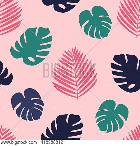 Palm leaves print Vector illustration in flat design Cute seamless pattern with colorful monstera and palm leaves on dotted pink background