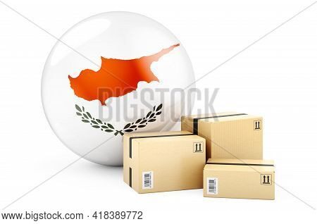Parcels With Cyprus Flag. Shipping And Delivery In Cyprus Concept. 3d Rendering Isolated On White Ba
