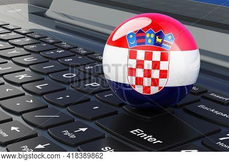 Croatian Flag On Laptop Keyboard. Online Business, E-education, Shopping In Croatia Concept. 3d Rend