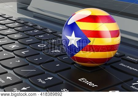 Catalan Flag On Laptop Keyboard. Online Business, E-education, Shopping In Catalonia Concept. 3d Ren