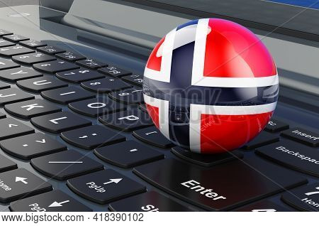 Norwegian Flag On Laptop Keyboard. Online Business, E-education, Shopping In Norway Concept. 3d Rend