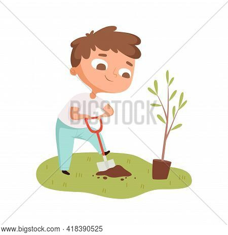 Boy Planting Tree. Toddler Digging Hole, Cartoon Baby Plant Growing And Botany. Save The Planet Envi