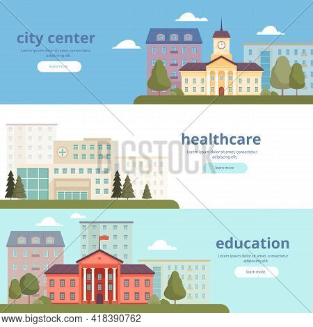 Urban Landscape Banners. City Infrastructure Big And Small Towns Municipal Buildings Architectural O