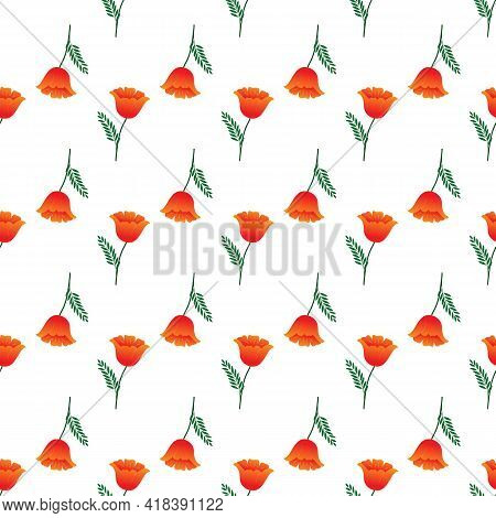 Summer Romantic Pattern With Orange Flower On White. Decorative Colorful Elegant Romantic Seamless P
