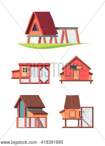 Chicken Coop. Hen Comfortable House In Village Broiler Farms Poultry Garish Vector Flat Wooden Const