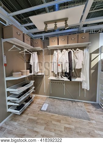 Russia, St. Petersburg 16.03.2021 Sample Dressing Room In Ikea Store For Sale