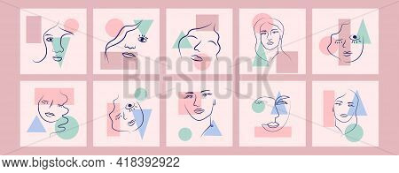 Abstract Woman Portrait By Simple Lines. Minimal Style Portrait. Geometric Shapes, Trendy Style
