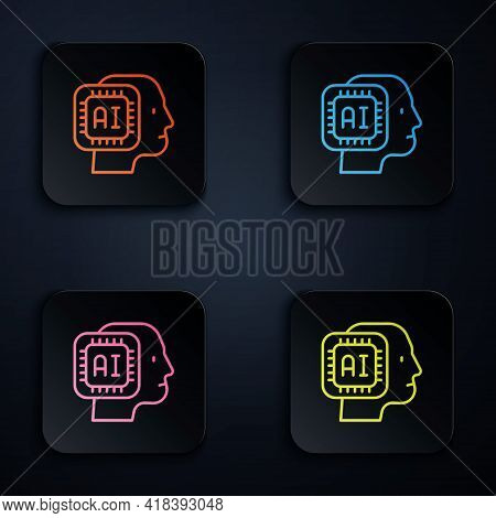 Color Neon Line Humanoid Robot Icon Isolated On Black Background. Artificial Intelligence, Machine L