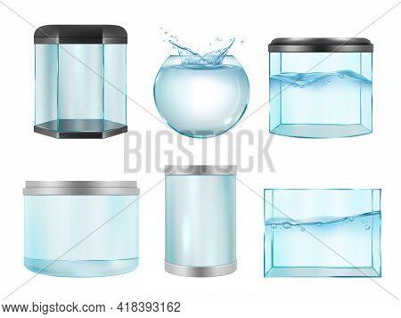 Aquarium For Fish. Empty Transparent Realistic Cases For Underwater Life Containers Different Geomet