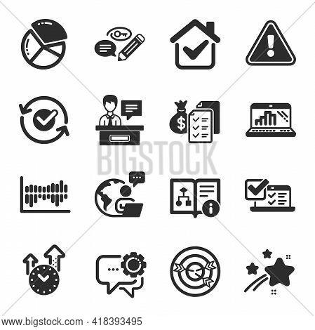 Set Of Education Icons, Such As Column Diagram, Pie Chart, Graph Laptop Symbols. Technical Algorithm