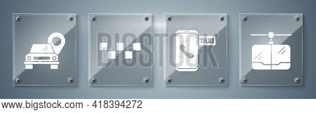 Set Cable Car, Taxi Call Telephone Service, Taxi Car Roof And Map Pointer With Taxi. Square Glass Pa