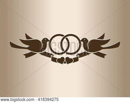 Wedding Retro Logo With Two Doves.  Wedding Vintage Logo With Two Doves. Two Birds With Wedding Ring