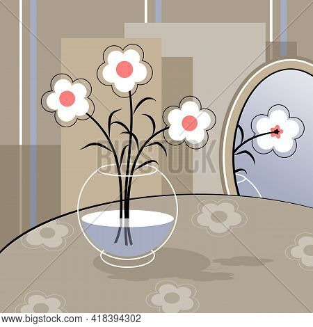 Stylized White Flowers In A Vase.  Stylized Bouquet Of Flowers In A Glass Vase. Decorative Still Lif