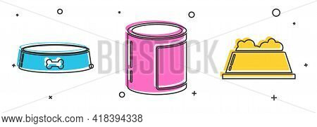 Set Pet Food Bowl, Canned Food And Pet Food Bowl Icon. Vector