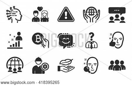 Engineer, Lightweight And Stats Icons Simple Set. Face Search, Hiring Employees And Organic Tested S