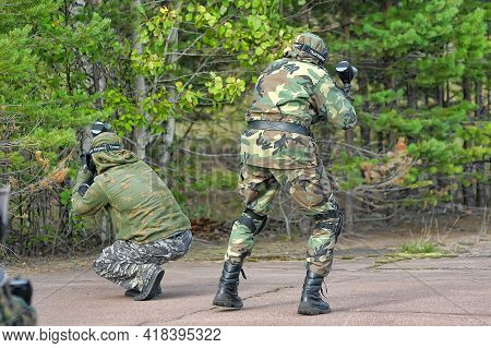 St. Petersburg, Russia 12-07-2016 Paintball Players In Full Gear At The Shooting Range, Tournament I