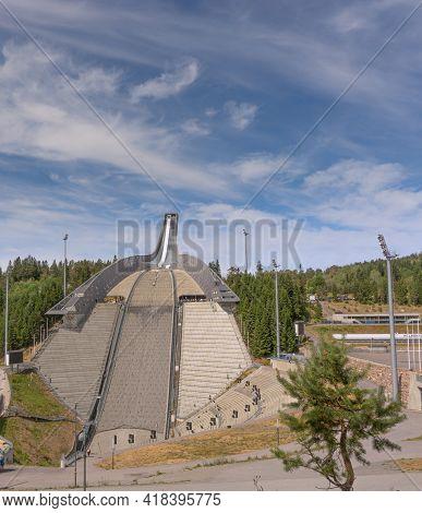 Oslo, Norway - July 2018.  Panoramic View Of Holmenkollen Ski Jump In Summer. Ski Jump, Bottom View.