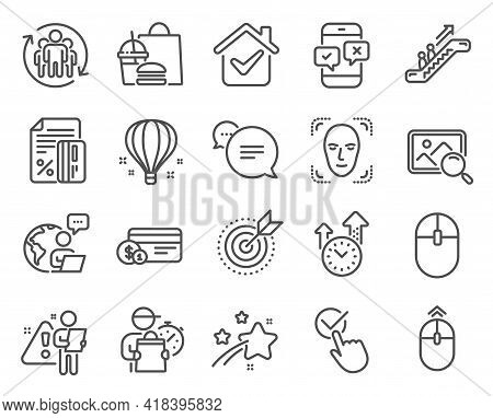 Technology Icons Set. Included Icon As Payment Method, Escalator, Text Message Signs. Face Detection