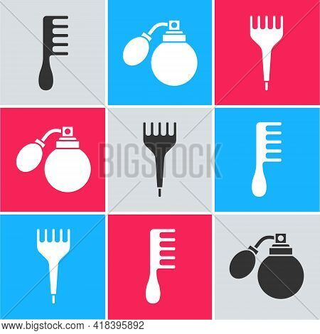Set Hairbrush, Aftershave Bottle With Atomizer And Hairbrush Icon. Vector