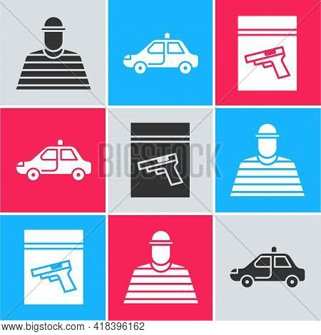 Set Prisoner, Police Car And Flasher And Evidence Bag And Pistol Or Gun Icon. Vector
