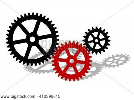 Cogwheel Gear Mechanism. Black Silhouette Gears On A White Background. Vector Illustration.