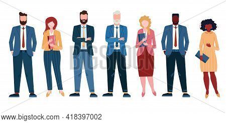 Group Of Diversity People In Office. Afro American Businessman In Suit And Woman In Dress. Multicult