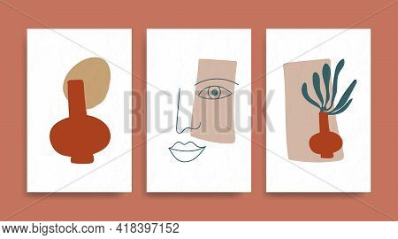 Contemporary Henri Matisse Abstract Vector Poster. Woman Face Silhouette Line Art Matisse Painting.
