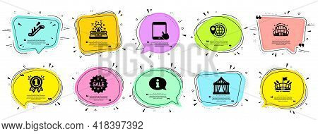 Business Icons Set. Speech Bubble Offer Banners. Vector Coupon Badge. Included Icon As Arena, Typewr