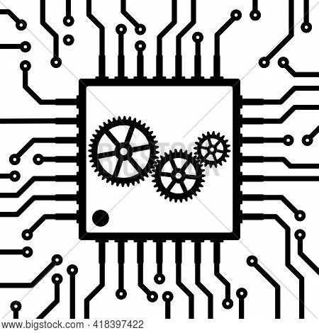 Circuit Board With Microchip. Microchip With Mechanical Gears Inside. Black And White Printed Circui