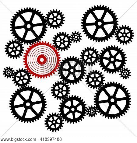 Silhouette Of A Cogwheel Gear Mechanism. Black Silhouette Gears On A White Background. Vector Illust