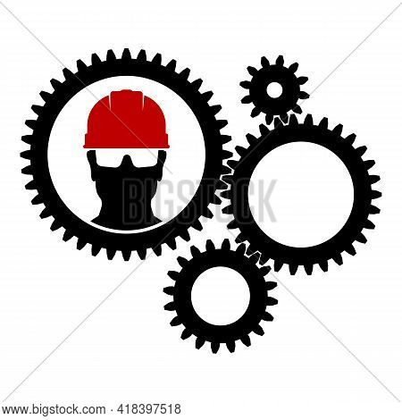 Silhouette Of A Cogwheel Gear Mechanism. Pictogram With A Gear Mechanism And A Worker In A Helmet. C