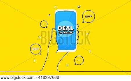 Deal Of The Day Symbol. Hand Hold Phone. Yellow Banner With Continuous Line. Special Offer Price Sig