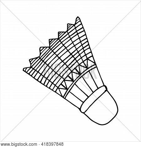 Shuttlecock For Playing Badminton.vector Illustration In Sketch Style. Hand Drawn Doodle Of Shuttlec
