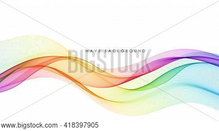 Vector Abstract Colorful Flowing Wave Lines Isolated On White Background. Design Element For Technol