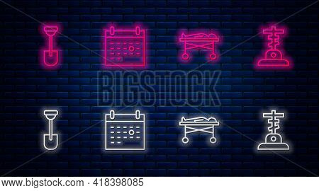 Set Line Calendar Death, Dead Body In The Morgue, Shovel And Grave With Cross. Glowing Neon Icon On