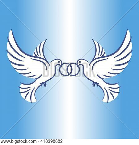 Two White Doves In Flight. Stylized Pigeons And Wedding Rings. Vintage Image With Wedding Doves. Vec