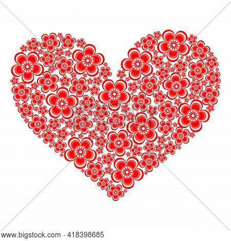 Heart Symbol Made Of Stylized Red Flowers. Vector Illustration.