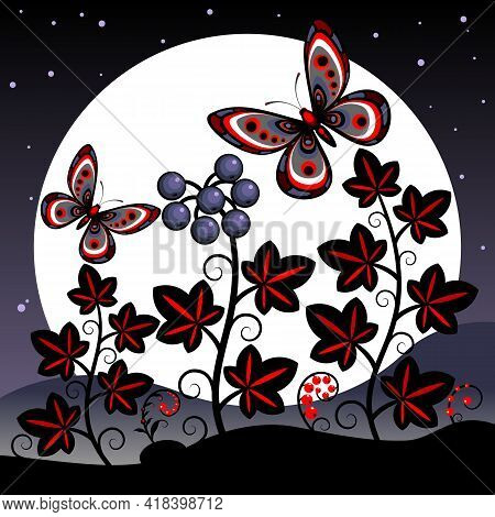 Night Landscape With Butterflies And Plants.  Decorative Landscape With Stylized Ivy Plants And Butt