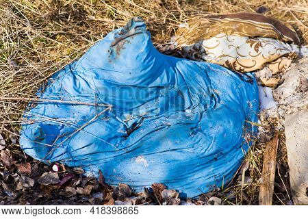 Garbage Dump In The Woods, Forest. Ecological Problems