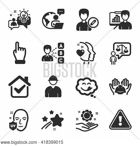 Set Of People Icons, Such As Employee Hand, Engineer, Opinion Symbols. Yummy Smile, Lawyer, Idea Sig
