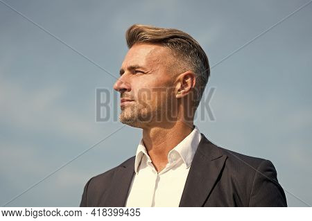 Lost In Thoughts. Cognitive Process. Intellectual Work. Man Stylish Hairstyle. Male Face. Businessma